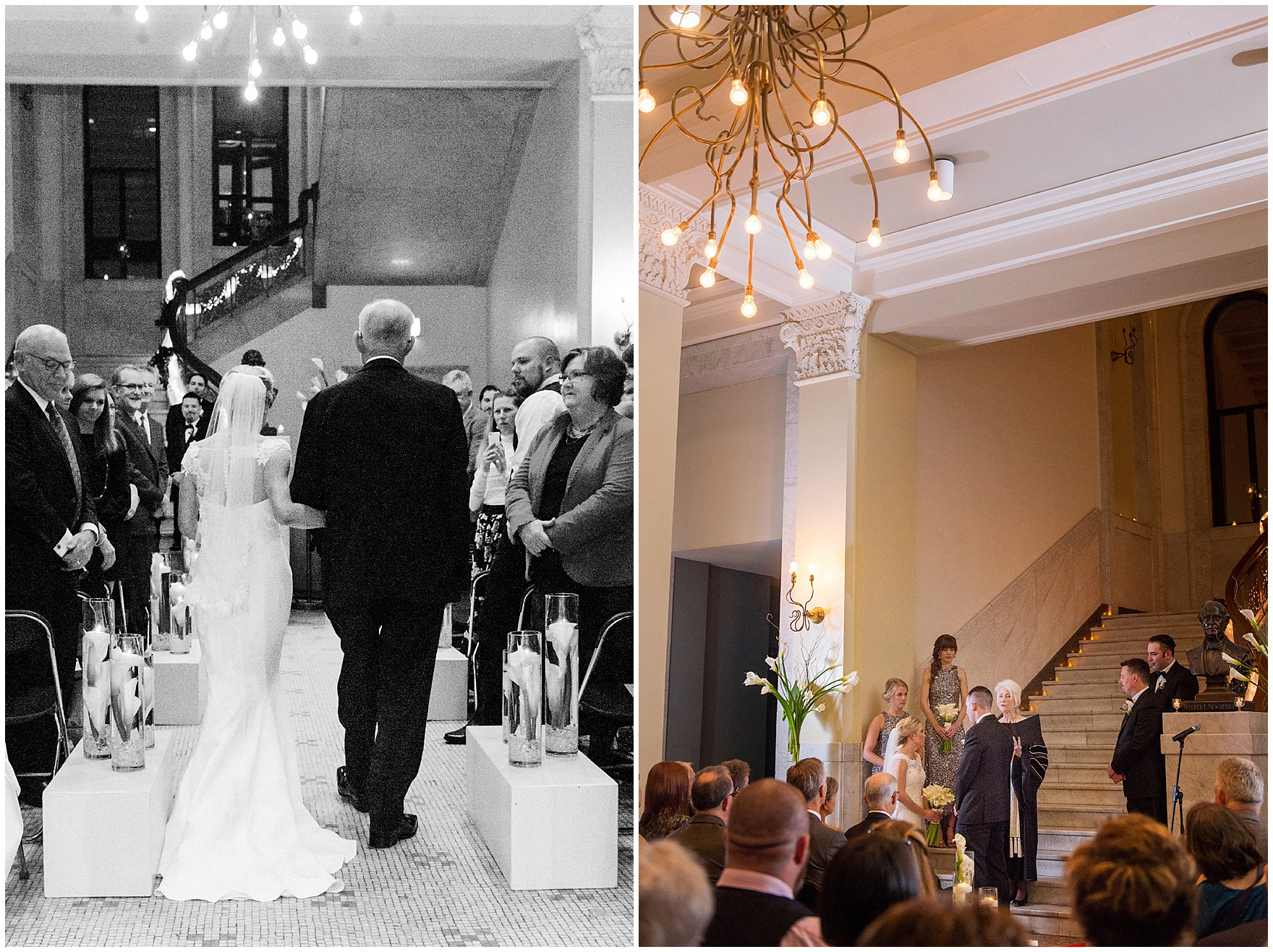 The bride and her father walk down the aisle during a Newberry Library Chicago wedding.