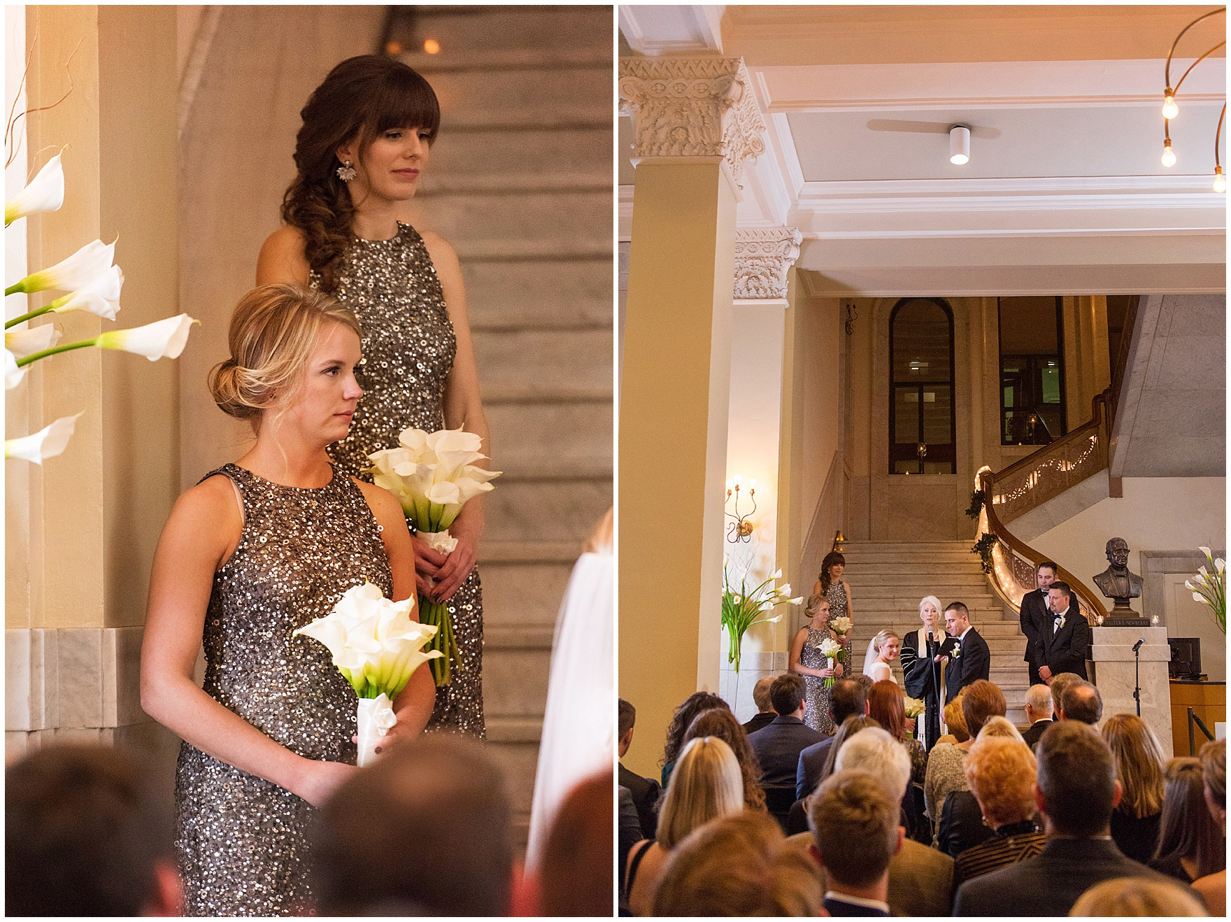 The maid of honor listens during a Newberry Library Chicago wedding.