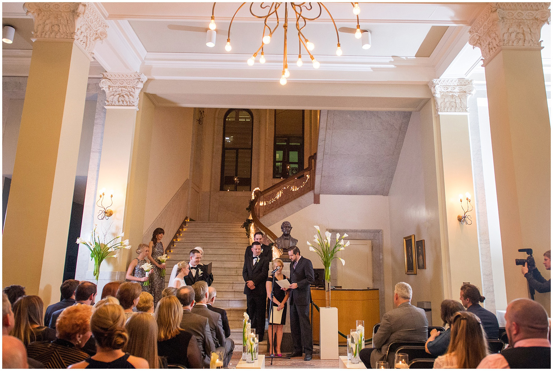 Friends give a speech during a Newberry Library Chicago wedding.