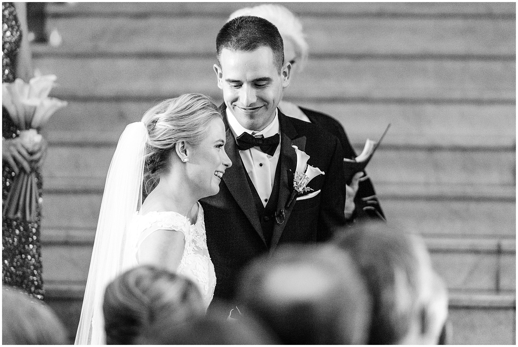 The bride and groom laugh during a Newberry Library Chicago wedding.
