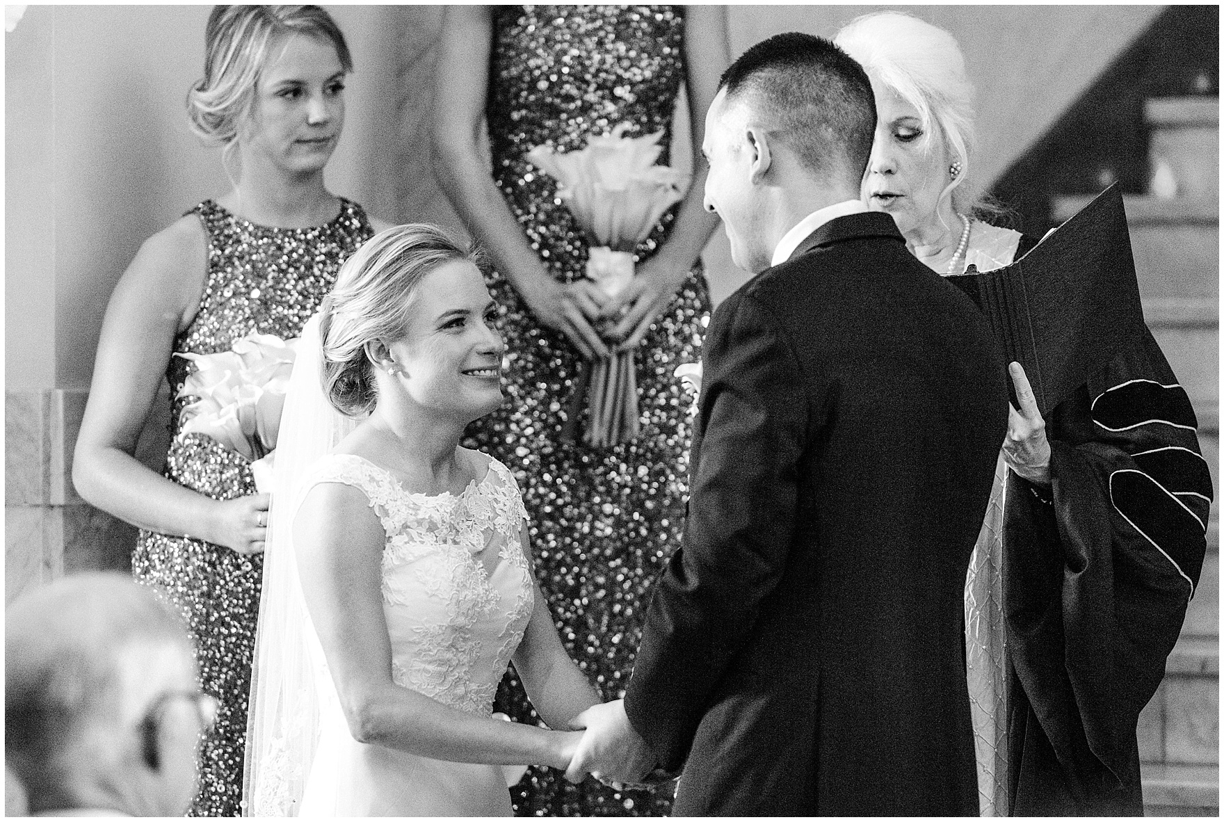 The bride and groom exchange vows during a Newberry Library Chicago wedding.