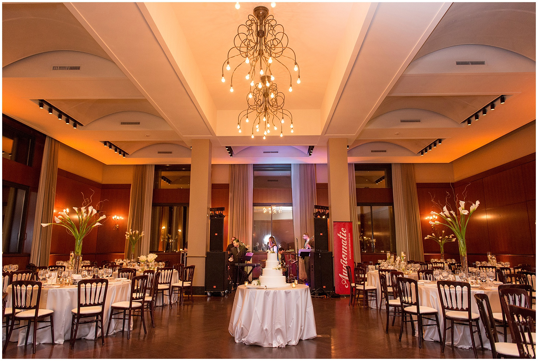 The reception decor for a Newberry Library Chicago wedding.