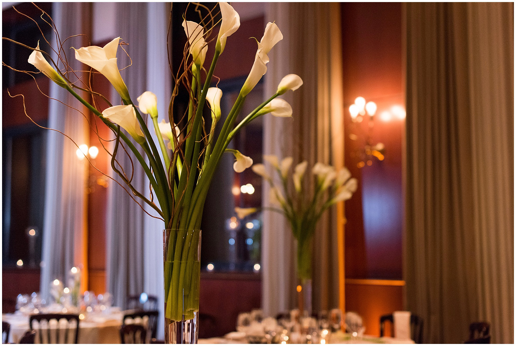 Calla lily centerpieces for a Newberry Library Chicago wedding reception.
