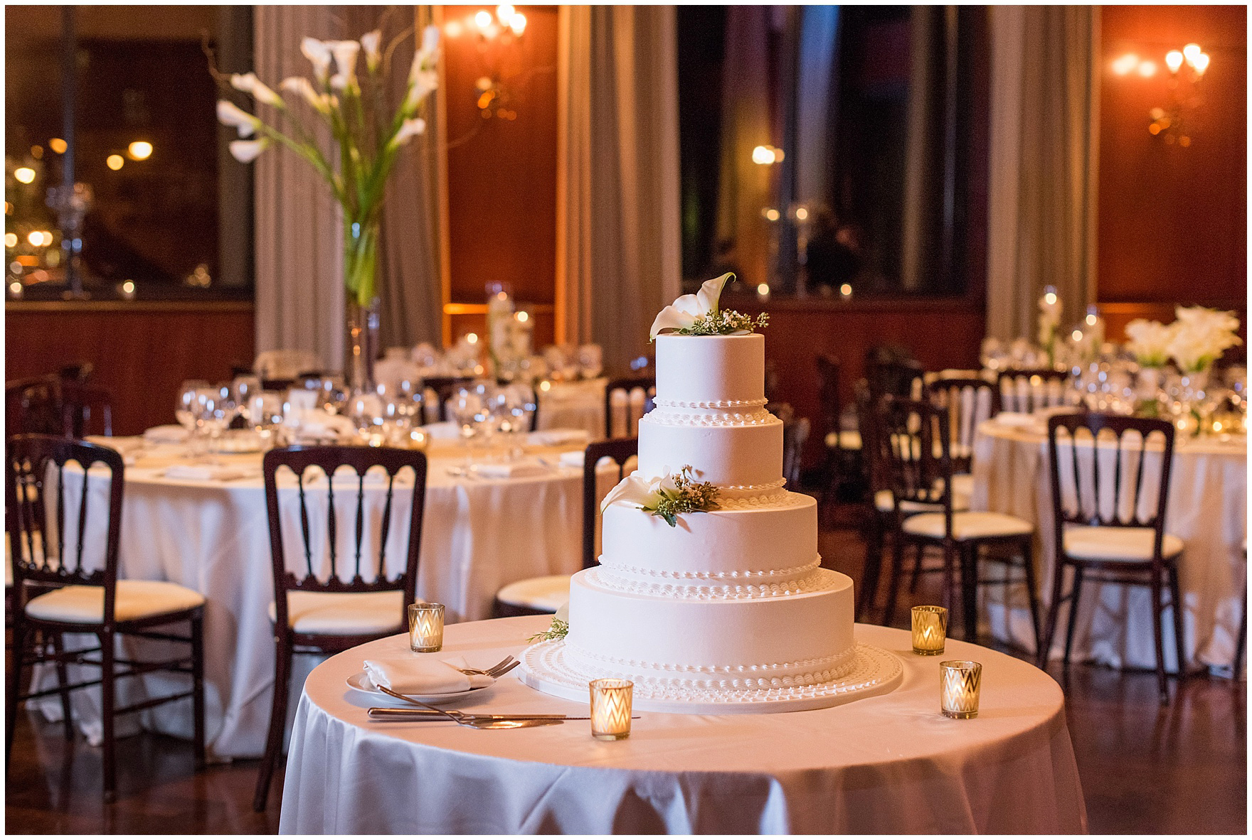 A tiered wedding cake for a Newberry Library Chicago wedding reception.