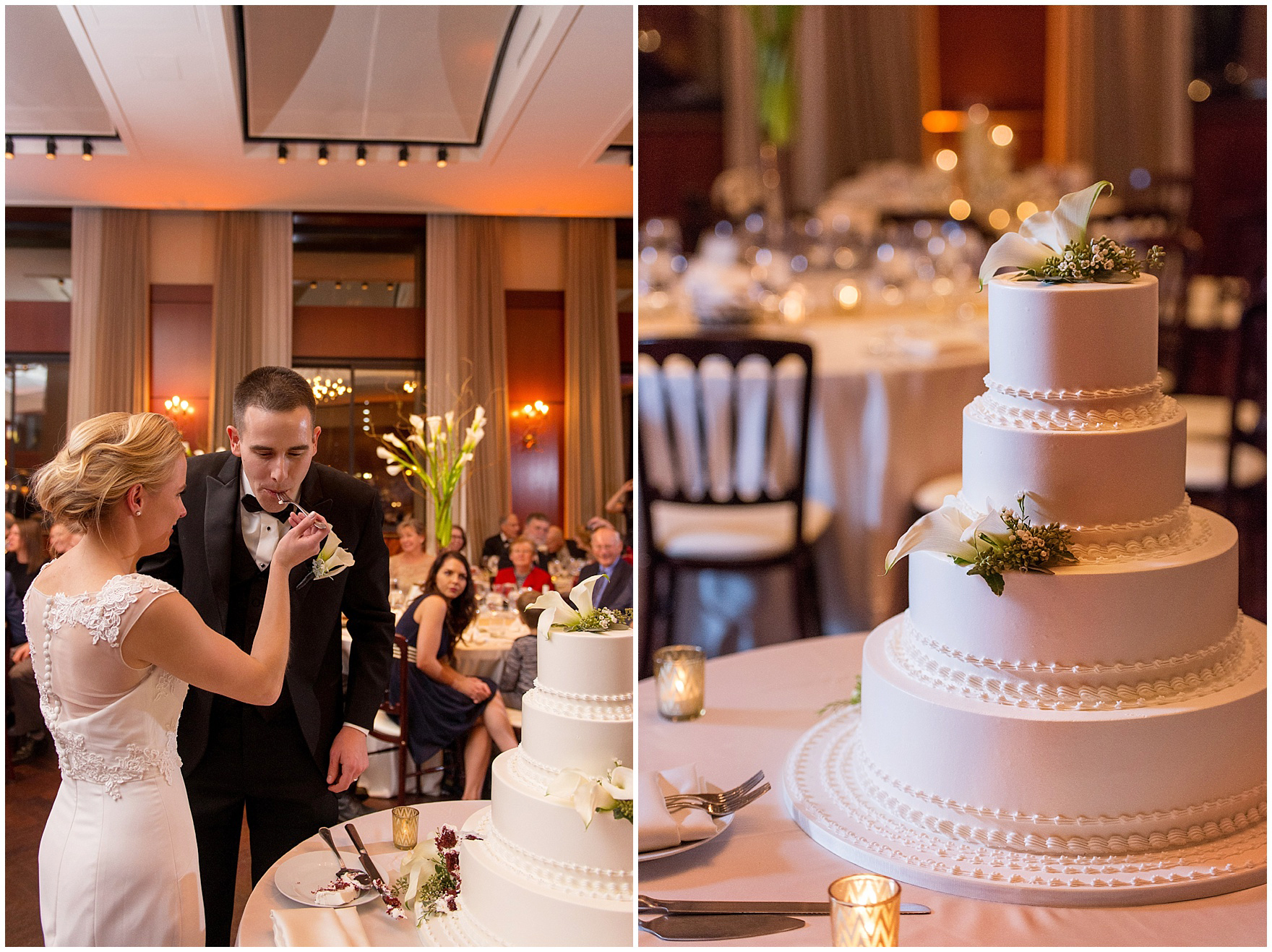 The bride and groom taste their cake during a Newberry Library Chicago wedding reception.