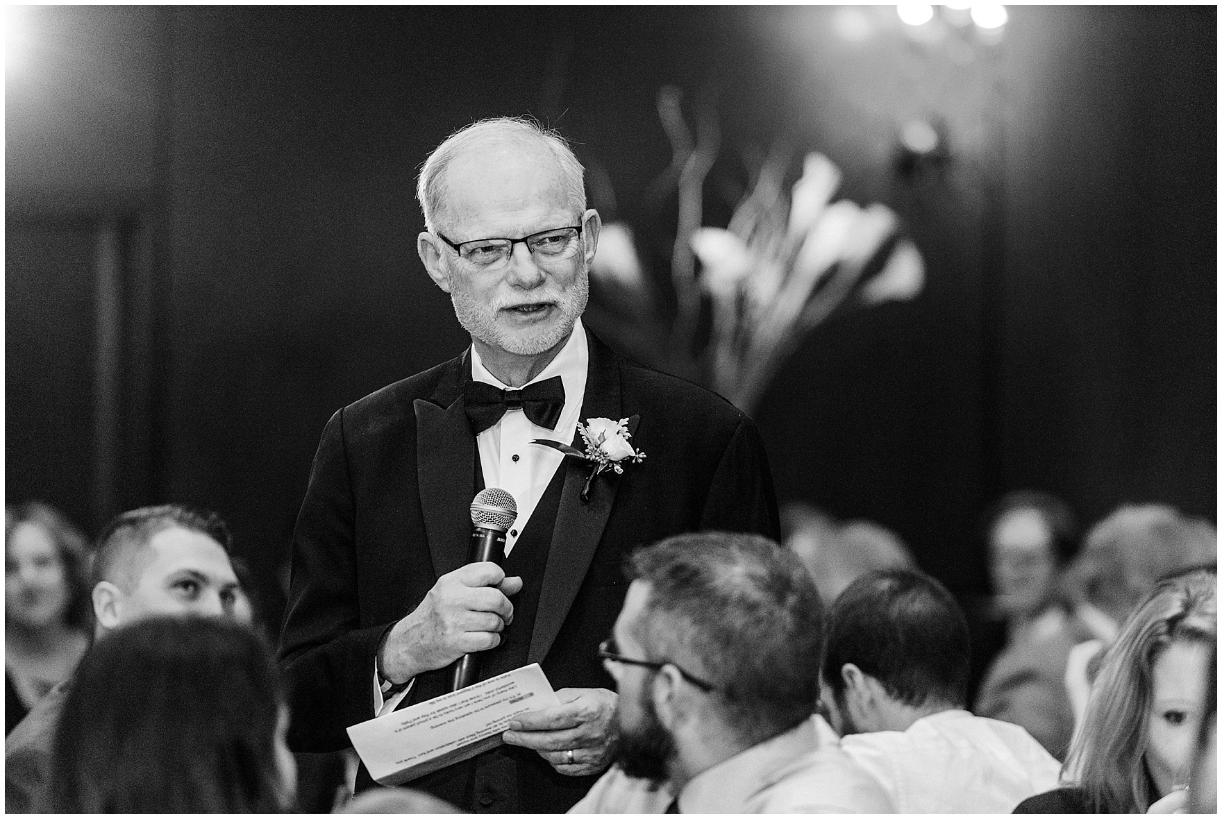 The father of the bride gives a toast during a Newberry Library Chicago wedding reception.