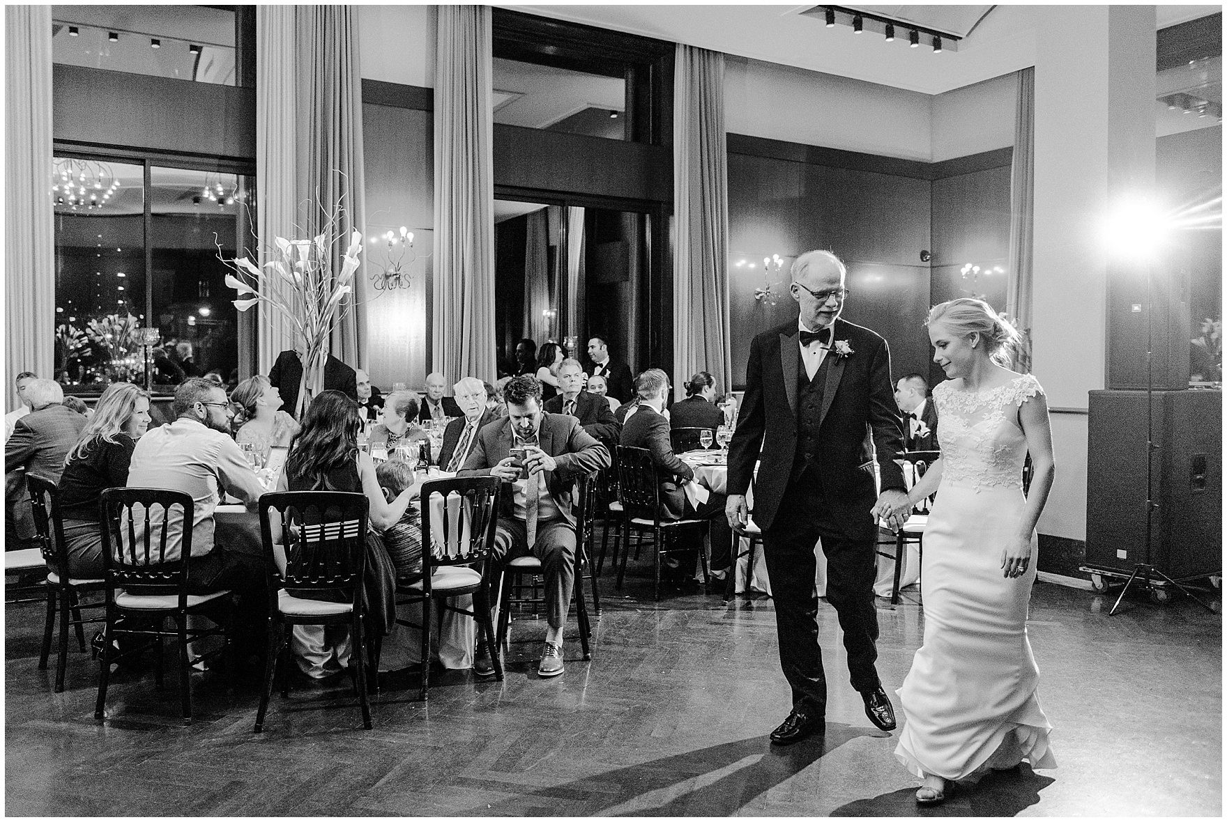 The bride and her father dance during a Newberry Library Chicago wedding reception.