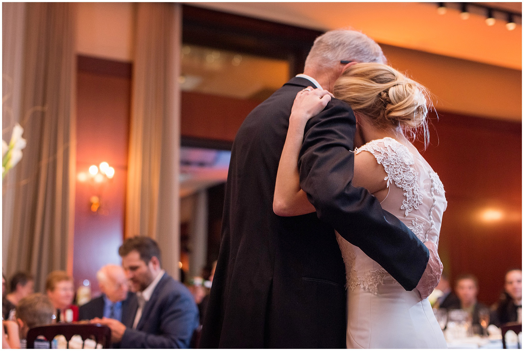 The father-daughter dance during a Newberry Library Chicago wedding reception.