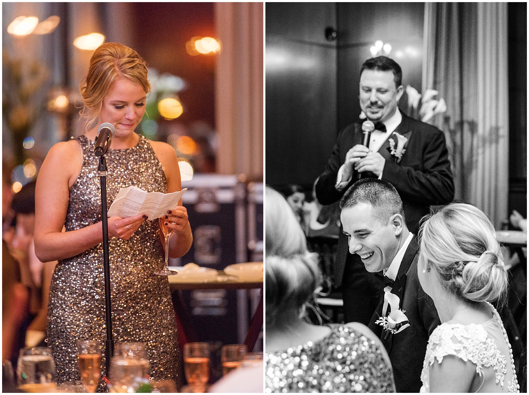 The maid of honor and best man speak during a Newberry Library Chicago wedding reception.