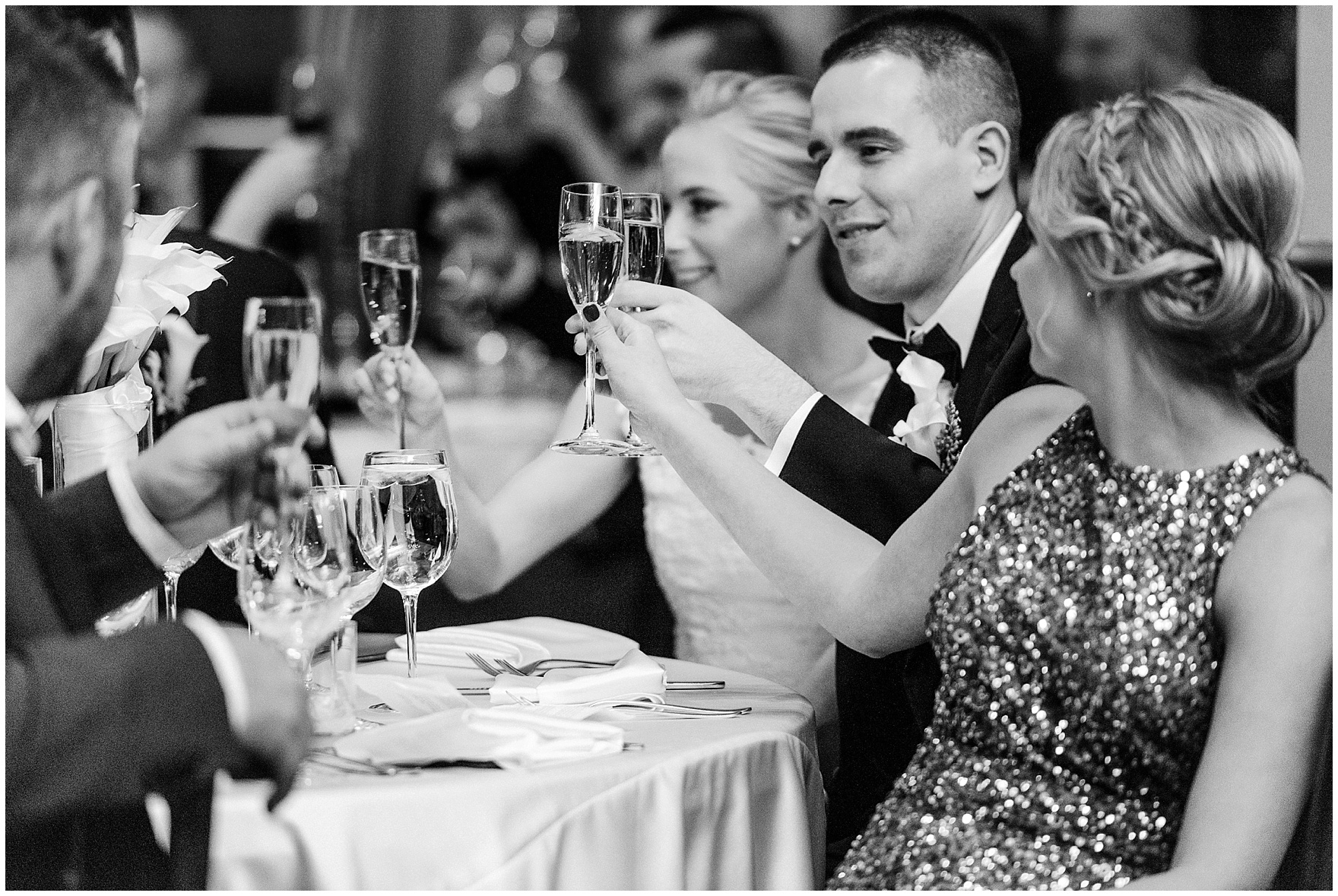 The bridal party toasts during a Newberry Library Chicago wedding reception.