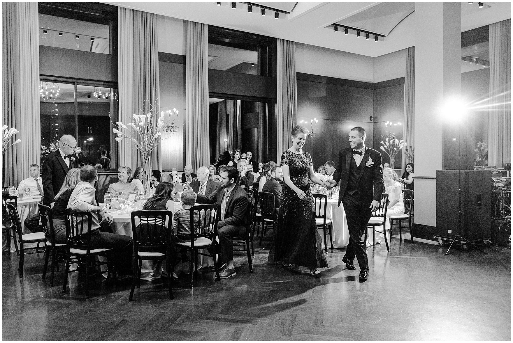 The groom and his mother dance during a Newberry Library Chicago wedding reception.