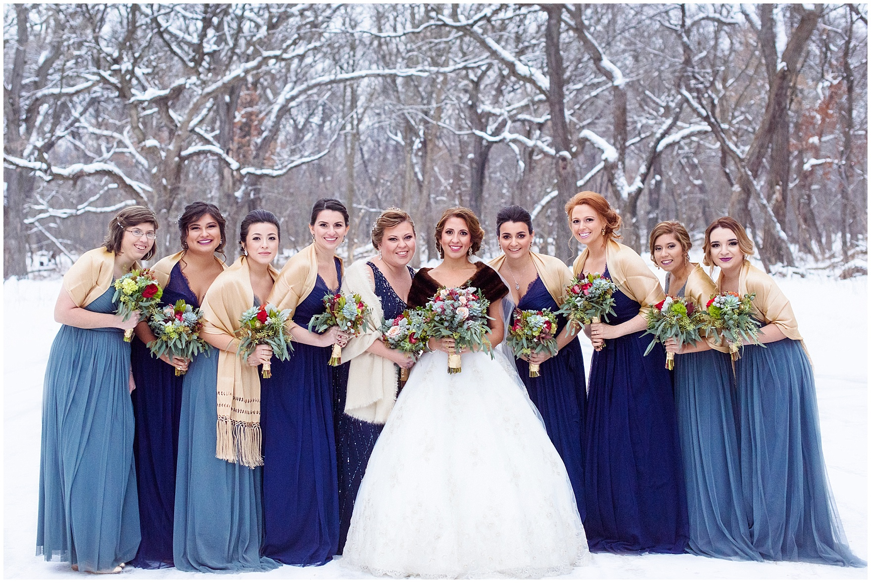 Bridesmaids In Shawls And Bride Fur Stole A Snowy Forest Preserve For Chicago